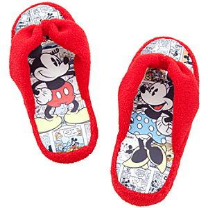 Comic Strip Mickey and Minnie Mouse Slippers for Girls