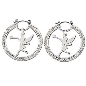 Pavé Crystal Silver Tinker Bell Earrings by Disney Couture