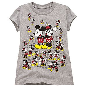 Glitter Minnie and Mickey Mouse Tee for Girls -- Gray -- Made With Organic Cotton