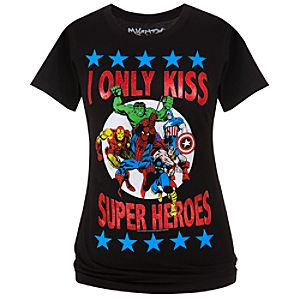 Fitted I Only Kiss Super Heroes Marvel Tee by Mighty Fine for Women