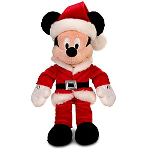 Santa Claus Mickey Mouse Mini Bean Bag Plush Toy -- 10 H