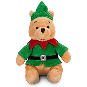 Santas Elf Pooh Mini Bean Bag Plush Toy -- 9 H