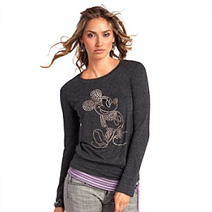 Long Sleeve Studded Mickey Mouse Tee for Women