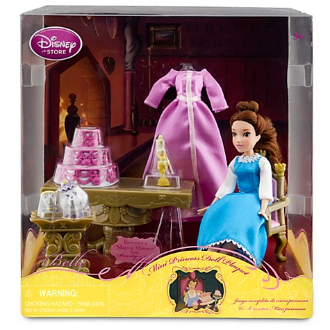 Nib disney beauty beast mini belle doll 10 piece play for Beauty and the beast table and chairs