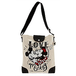Mickey and Minnie Mouse Canvas Tote Bag - ''I Love Mickey'' Collection