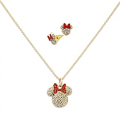 Minnie Mouse Necklace and Earrings Set
