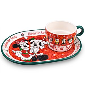 Santa Minnie and Mickey Mouse Plate and Mug Set -- 2-Pc.