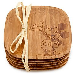 Bamboo Mickey Mouse Coaster Set -- 6-Pc.