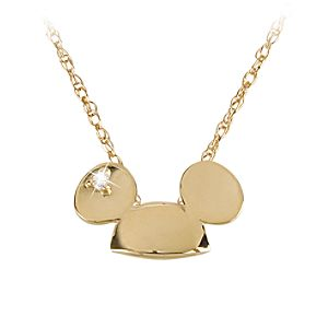 14 KT Gold and Diamond Mickey Mouse Ears Hat Necklace - Disney Dream Collection