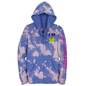 Blue Tye Dye I Heart Mickey Fleece Hoodie for Women