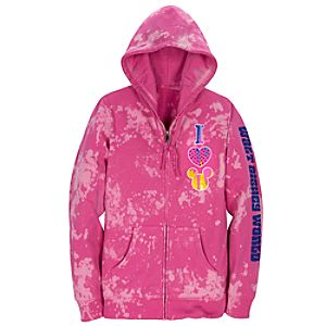 Pink Tye Dye I Heart Mickey Fleece Hoodie for Women