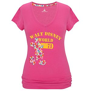 Pink Walt Disney World Floral Mickey Mouse Tee for Women