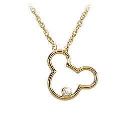 Gold and Diamond Mickey Mouse Icon Necklace