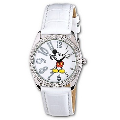 White Leather Glitter Mickey Mouse Watch