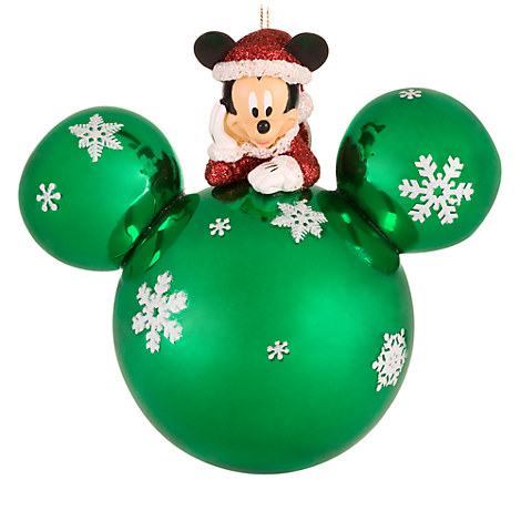 Green Glass Santa Mickey Mouse Holiday Ornament | Seasonal | Disney ...