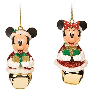 Santa Mickey and Minnie Mouse Jingle Bell Ornament Set - 2-Pc.