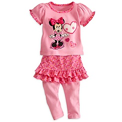 Minnie Mouse Top and Skirt with Leggings Set for Baby