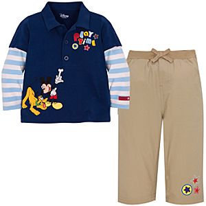 Pluto and Mickey Mouse Polo Set for Infants -- Made With Organic Cotton