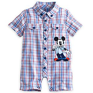 Mickey Mouse Woven Plaid Romper for Baby