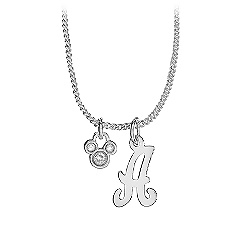 Silver Initial Crystal Mickey Mouse Necklace