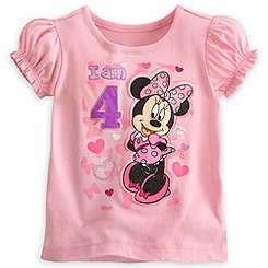 Minnie Mouse ''I Am 4'' Birthday Tee for Girls