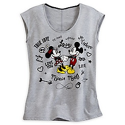 Mickey and Minnie Mouse Sleeveless Tee for Women - ''I Love Mickey'' Collection