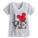 Mickey Mouse Striped Tee for Women - ''I Love Mickey'' Collection