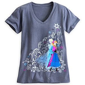 Anna and Elsa V-Neck Tee for Women
