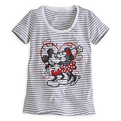 Mickey and Minnie Mouse Striped Tee for Women
