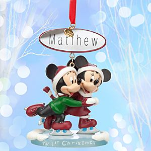 Mickey and Minnie Mouse Sketchbook Ornament - My 1st Christmas - Personalizable