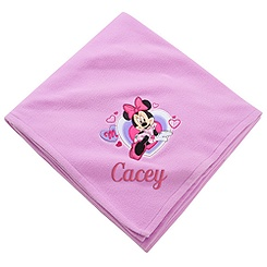 Personalizable Minnie Mouse Fleece Throw Blanket