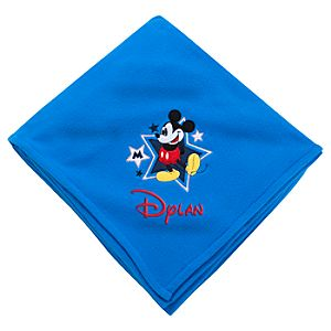 Personalizable Mickey Mouse Fleece Throw Blanket