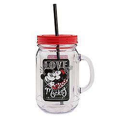 Mickey and Minnie Mouse Jelly Jar with Straw - ''I Love Mickey'' Collection