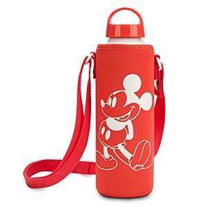 Mickey Mouse Water Bottle with Neoprene Cover - Summer Fun - Red