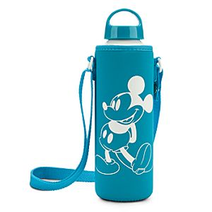 Mickey Mouse Water Bottle with Neoprene Cover - Summer Fun - Blue