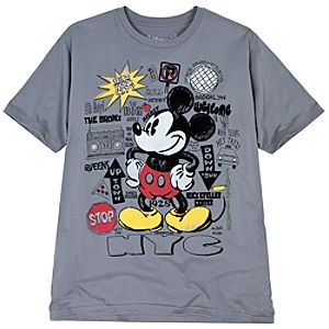 Organic Cotton City Lights New York Mickey Mouse Tee for Men