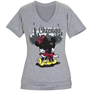 Minnie and Mickey Mouse Chicago V-Neck Tee for Women
