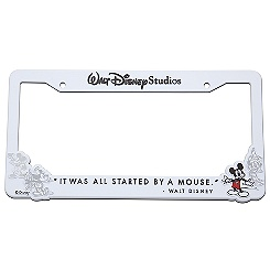 Mickey Mouse License Plate Frame - White