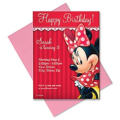 Minnie Mouse Invitation - Customizable - Red