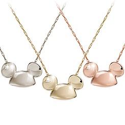 Mickey Mouse Diamond Necklace - 18 Karat Gold - Ear Hat
