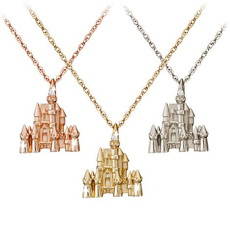 disney castle necklace 18 karat gold and necklaces adults disney store