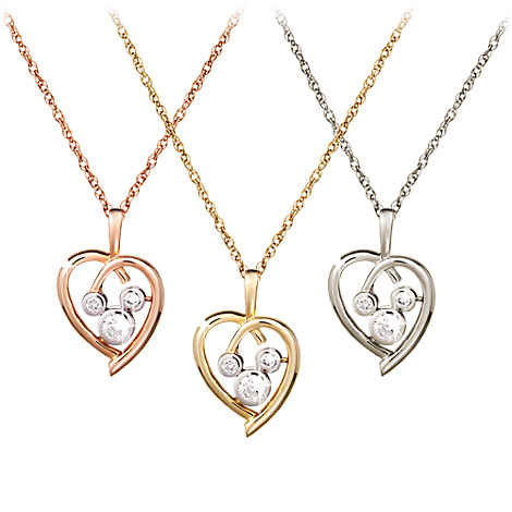 diamond heart mickey mouse necklace 14k necklaces