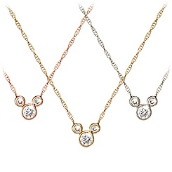 Diamond Icon Mickey Mouse Necklace - 14K - Small