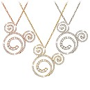 Diamond Swirl Mickey Mouse Necklace - 14K