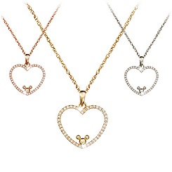 Diamond Heart Icon Mickey Mouse Necklace -- 14 Karat