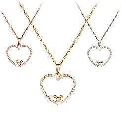 Diamond Heart Mickey Mouse Necklace - 14K