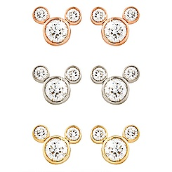 Diamond Mickey Mouse Earrings - Medium - 18K