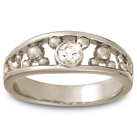mickey mouse icon ring for 14k white gold