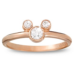 Diamond Petite Icon Mickey Mouse Ring -- 14 Karat Rose Gold