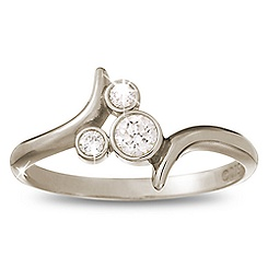 Diamond Mickey Mouse Icon Bypass Ring - 18K White Gold